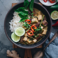 Vegan Thai green curry served with rice
