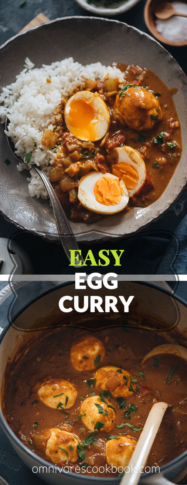 Easy Egg Curry - Tender eggs are smothered in a super rich curry sauce with a tomato and coconut base. The recipe shows you how to cook a tasty curry using minimal ingredients, making it a perfect dish for a busy weekday dinner. {Gluten-Free}