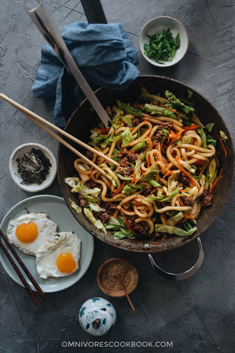 Homemade fried udon in a pan