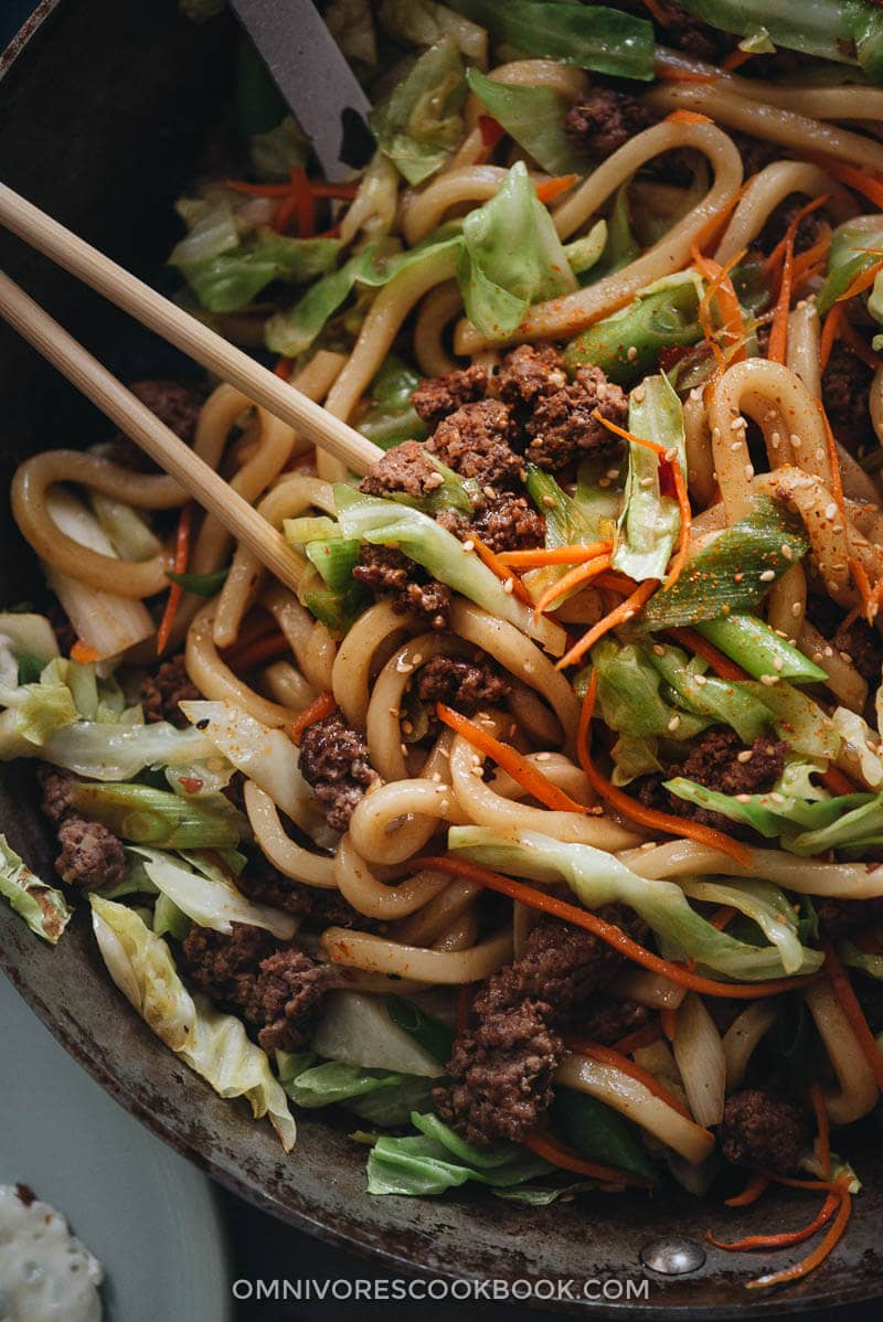 Fried udon in a pan close up