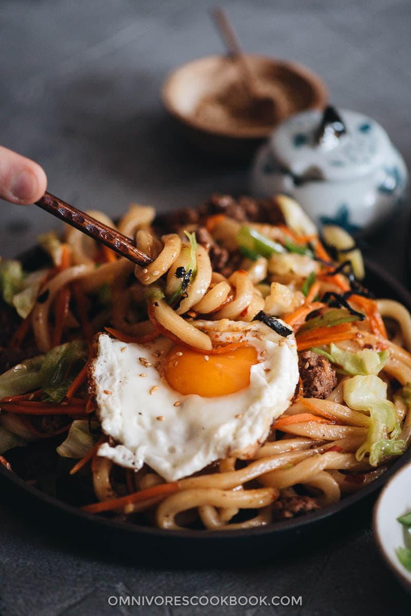 Easy fried udon served served with sunny side egg