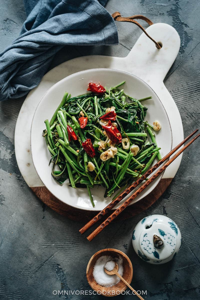 Homemade stir fried water spinach