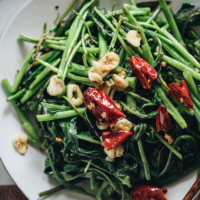 Stir fried water spinach close up