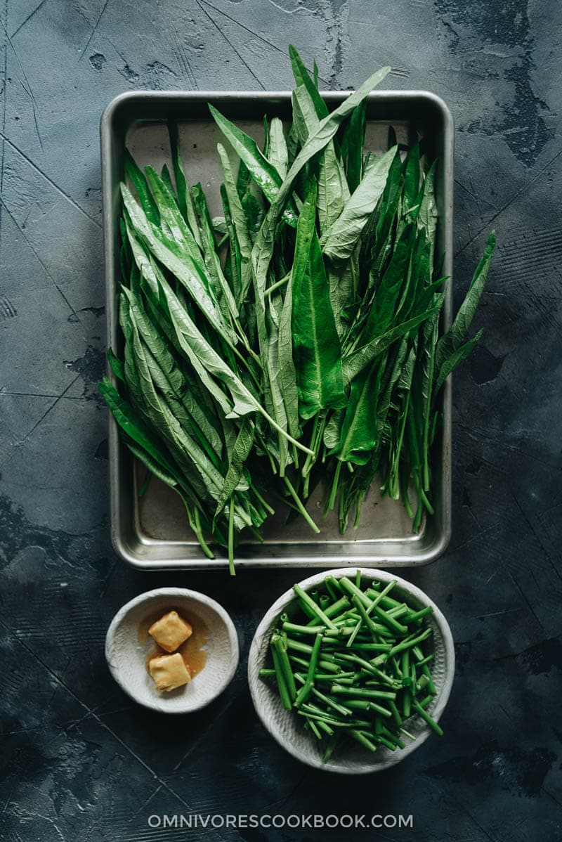 Prepared water spinach before cooking