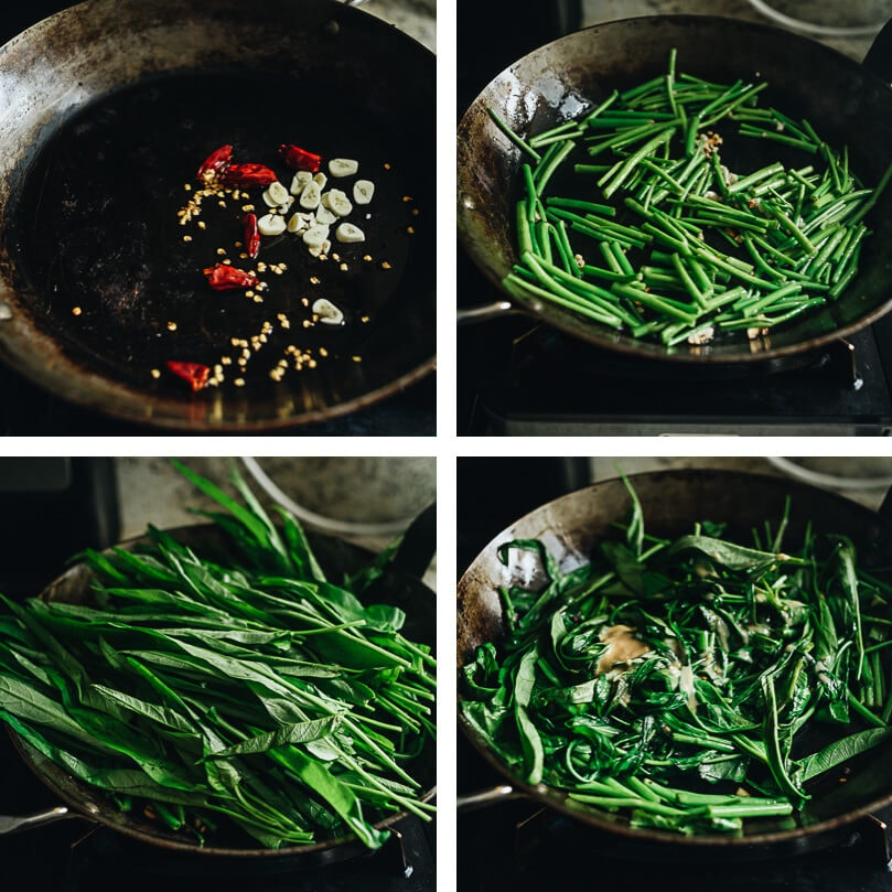 Stir fried water spinach cooking process
