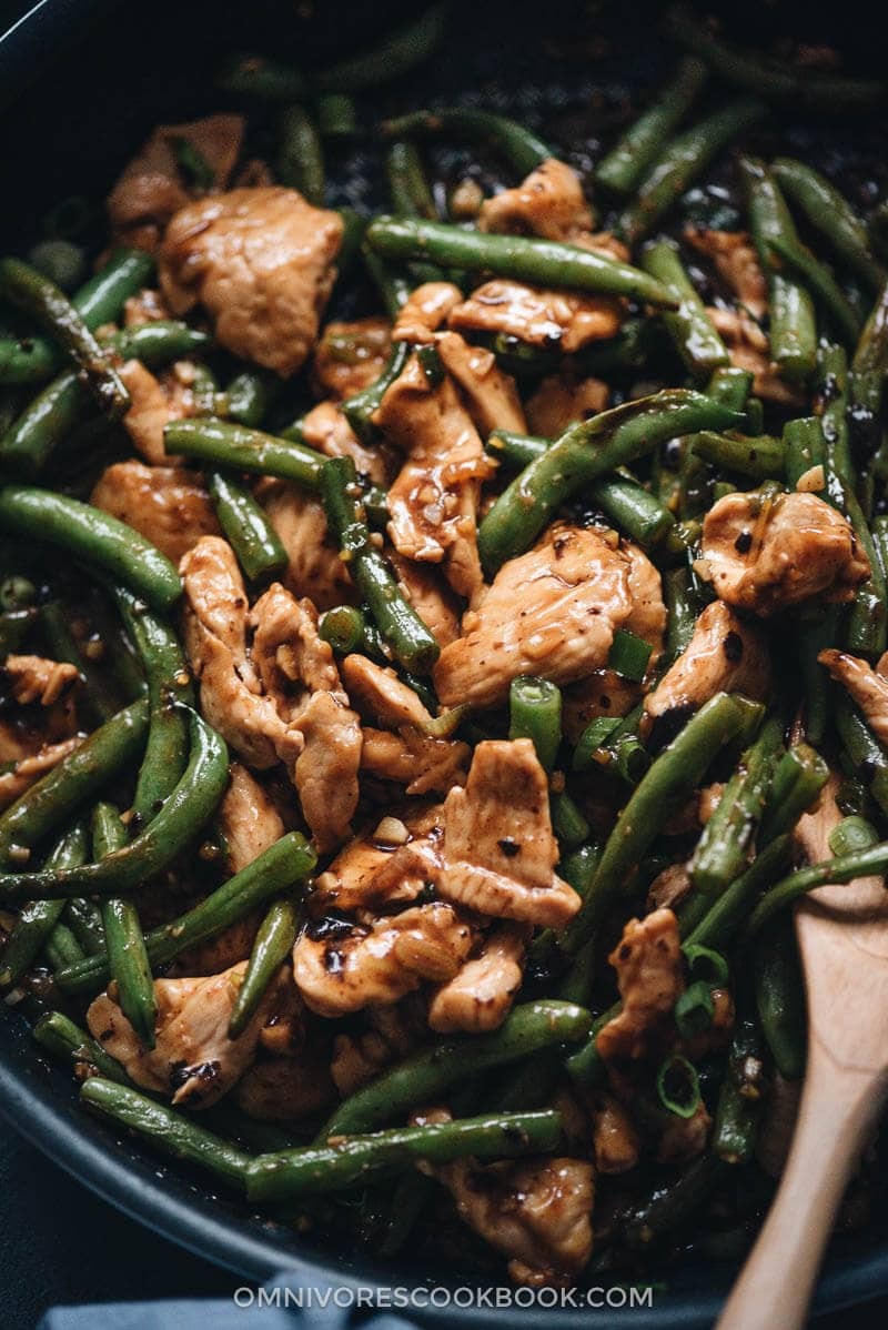 String bean chicken in a pan close-up