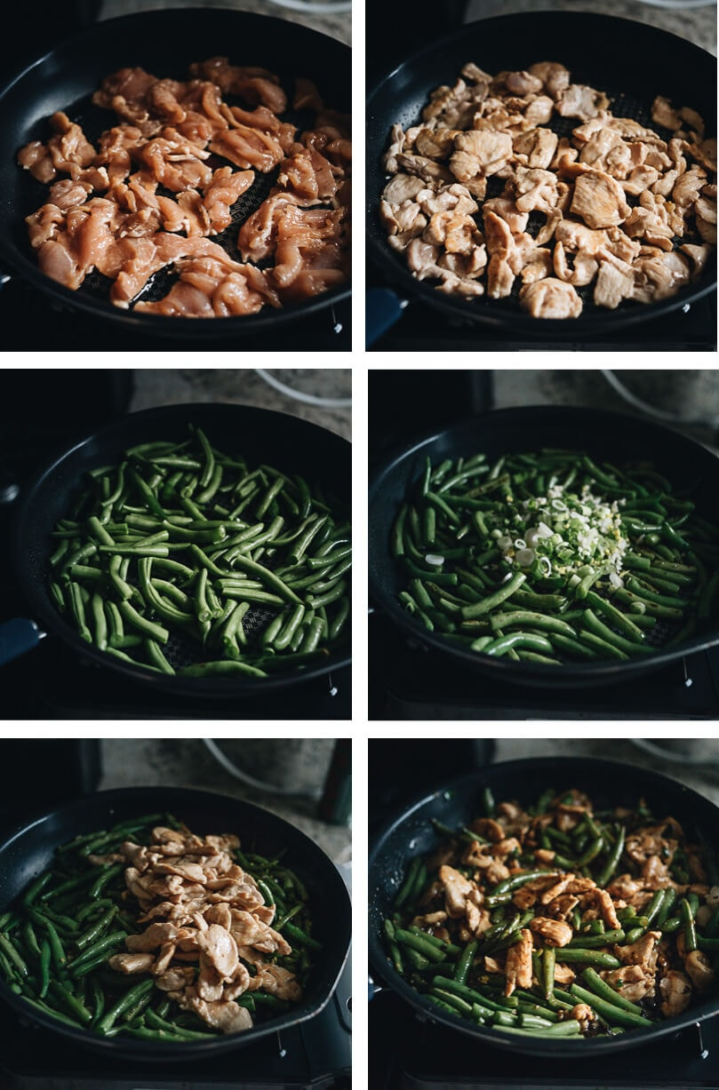 String bean chicken cooking process