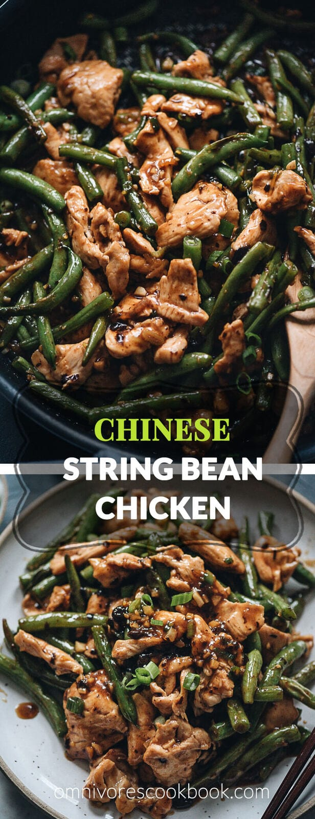 String bean chicken - This takeout string bean chicken is so easy to make and perfect for a weekday dinner. The juicy chicken is seared in a fragrant black bean sauce with tender green beans. The recipe yields extra sauce so you can serve it on rice to make a delicious one-bowl meal. {Gluten-Free adaptable}