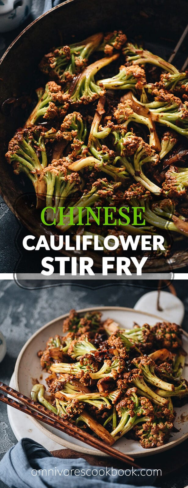 Chinese Cauliflower Stir Fry (干锅菜花) - These crunchy cauliflower bites are cooked in a numbing spicy sauce that is so rich. Even though this recipe is vegan, I've included notes on how to add different types of protein, to make a more substantial dish for your dinner. {Vegan, Gluten-Free Adaptable}