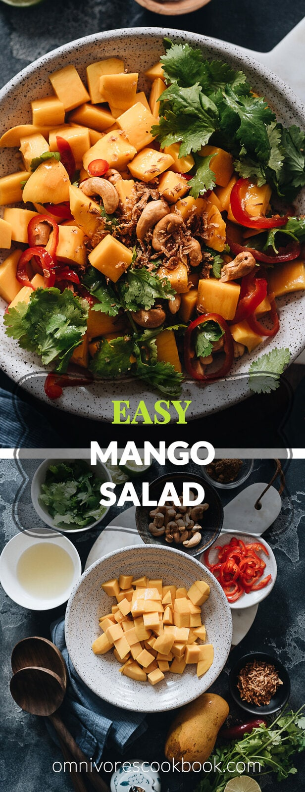 Mango Salad - Sweet and juicy mangoes tossed with lime juice, crispy nuts, crunchy fried onion, and a touch of spice. You can whip up a super-light, revitalizing brunch for the warm weather in no time. {Vegan, Gluten-Free}