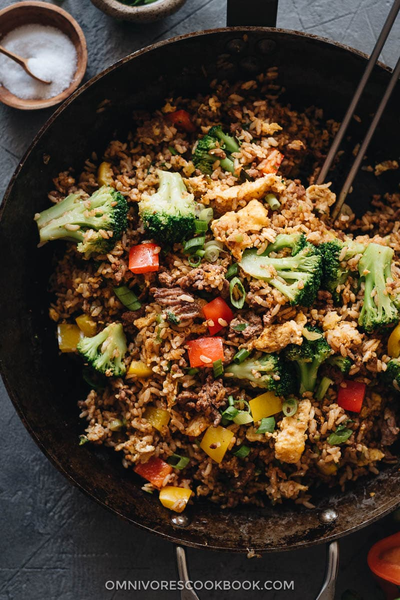 Homemade beef fried rice in pan