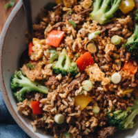 Beef fried rice close up