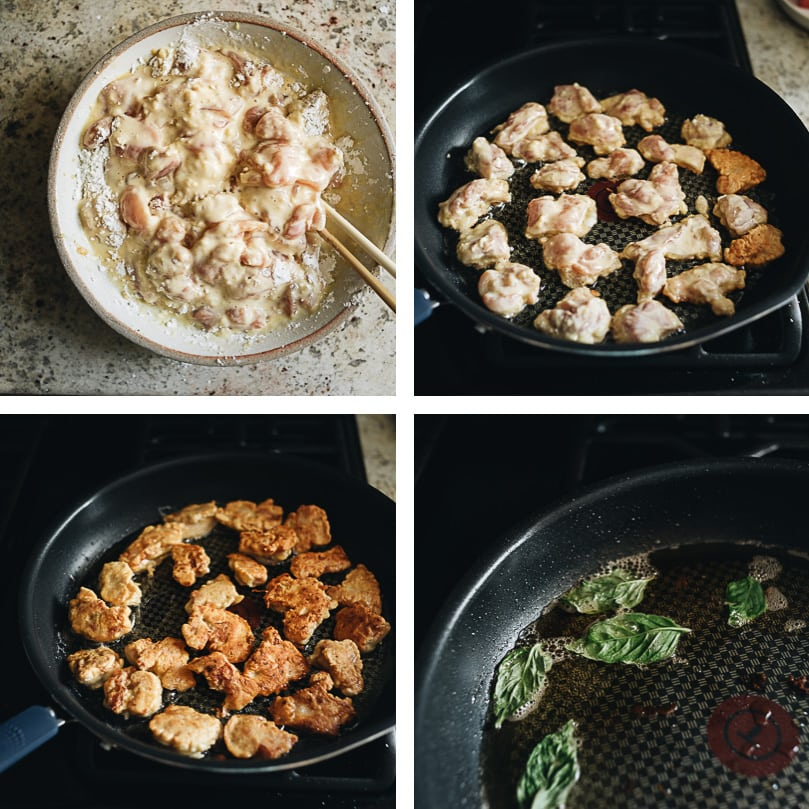 Salt and pepper chicken cooking step-by-step
