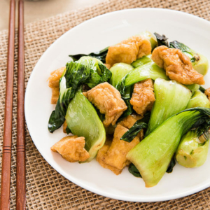 Bok Choy stir-fry with Crispy Tofu