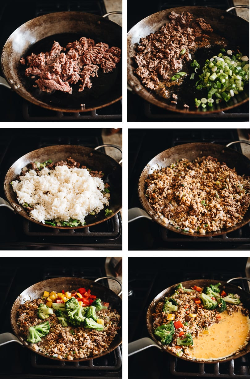 Beef fried rice cooking step-by-step