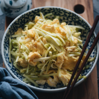 Homemade yellow chives and eggs stir fry