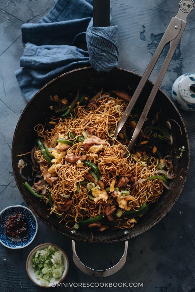 Hokkien noodles in a pan