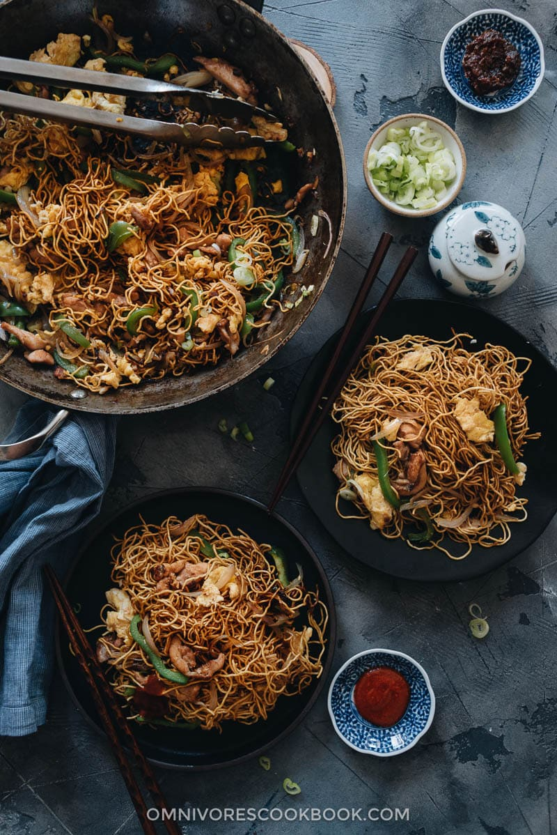 Homemade Hokkien noodles served in plates