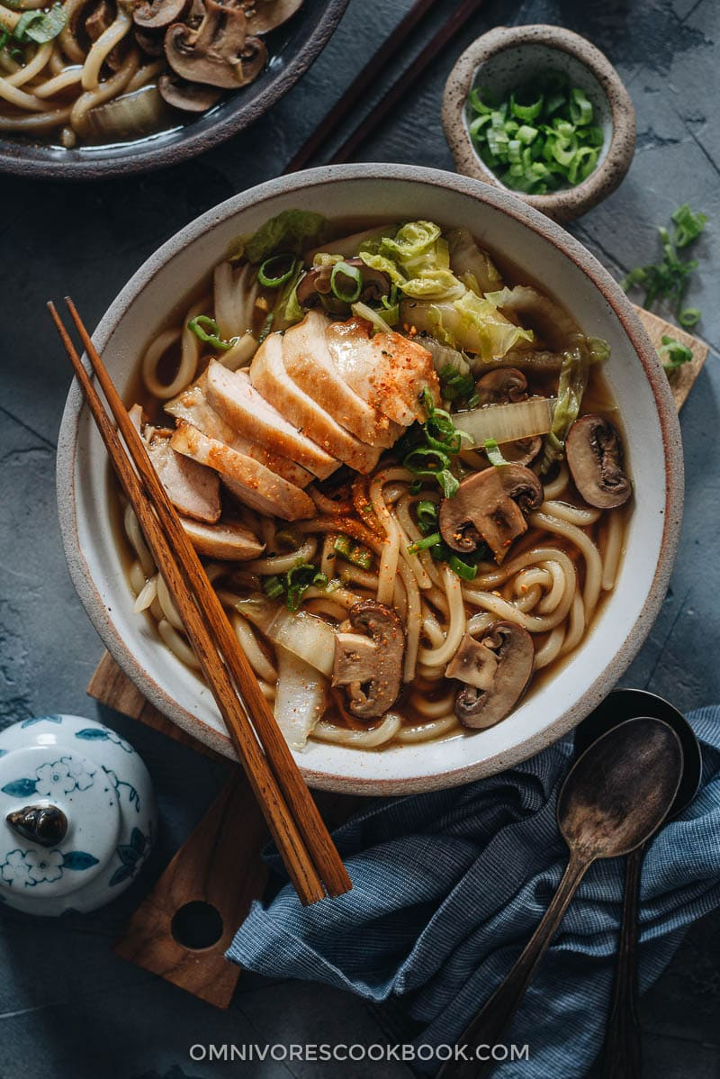 Homemade chicken udon soup