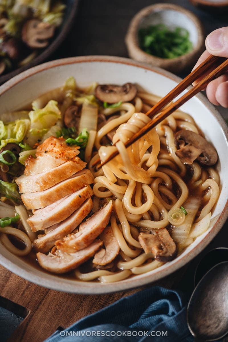 Chicken udon soup close-up