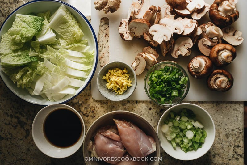 Homemade chicken udon soup ingredients