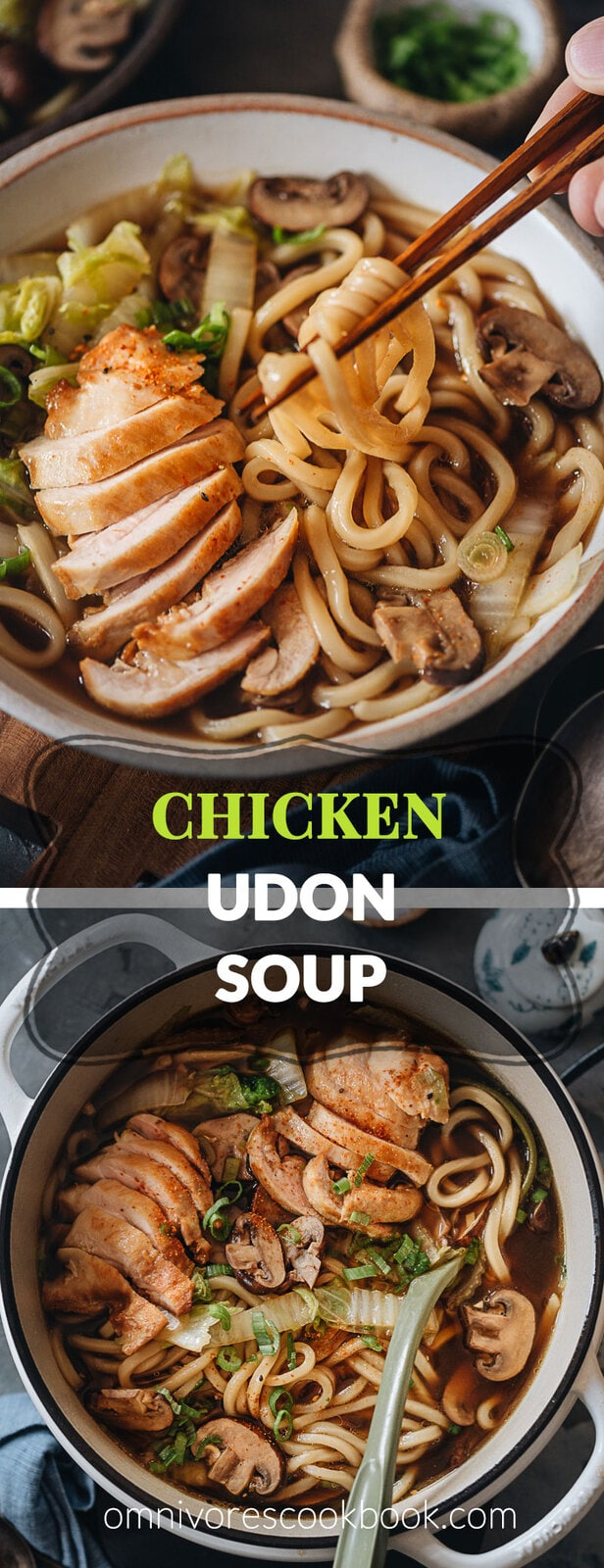Chicken Udon Soup - A super simple one-pot noodle soup that guarantees maximum satisfaction with beautifully charred chicken, rich soup, thick noodles, and tender veggies.
