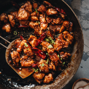 General Tso's Chicken in a pan