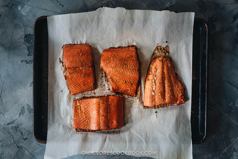 Baked marinated salmon fillet