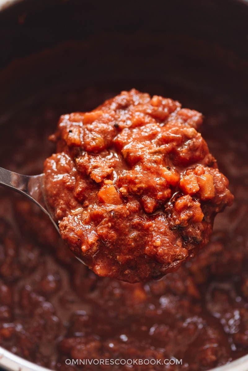 Instant Pot bolognese sauce close up