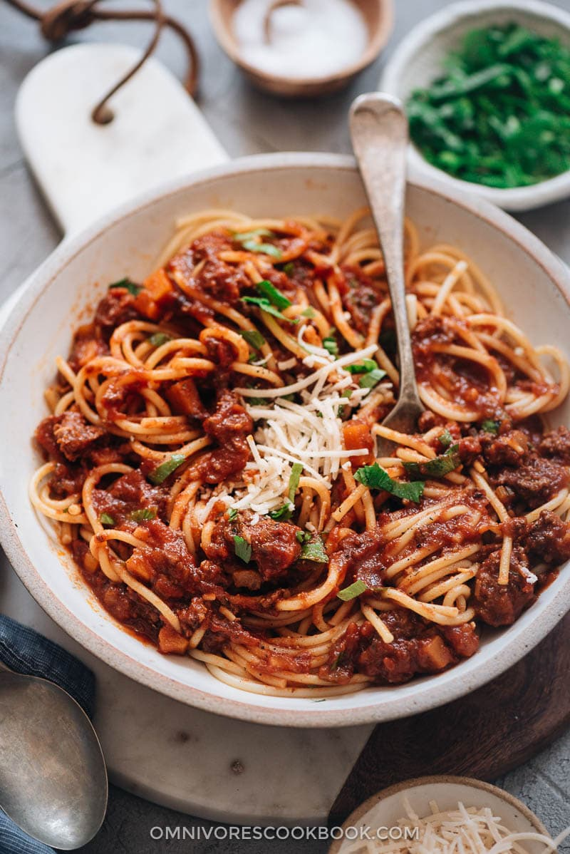Instant Pot bolognese sauce with spaghetti Hong Kong style