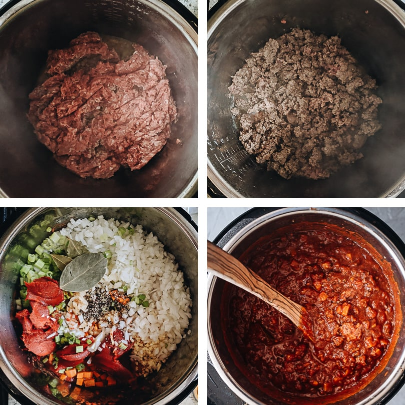 Instant Pot bolognese cooking process