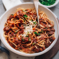 Instant Pot Bolognese (Hong Kong Style) - Pressure cooker bolognese sauce with a hint of sweetness and a super creamy texture without any heavy cream. This easy recipe uses some Asian ingredients to reduce prep and cooking time and create a rich flavor. Perfect for a weekday dinner or meal-prep. {Gluten-Free adaptable}