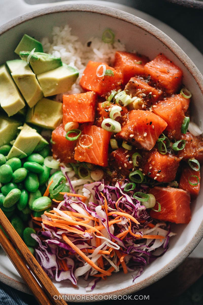 Salmon poke bowl close up
