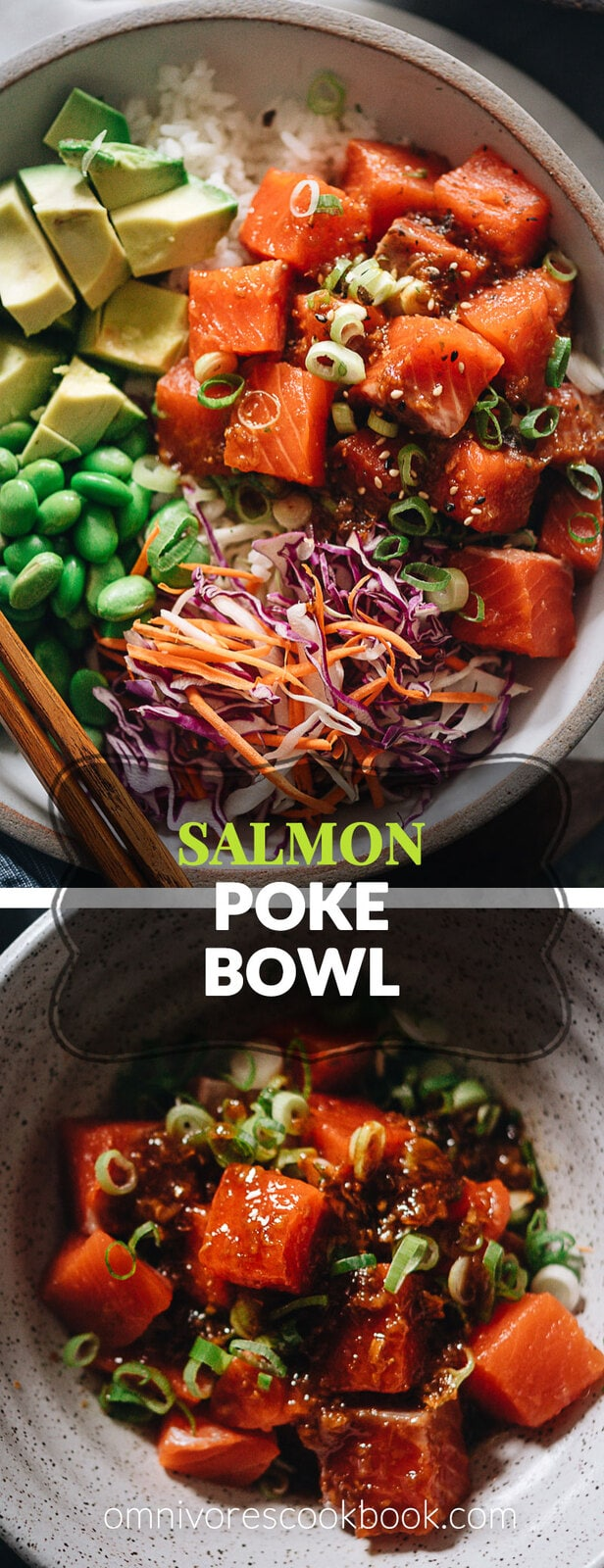 Salmon poke bowl - a perfect one-bowl meal that's easy to make and packed with nutrition. The recipe uses an extra aromatic sauce that has the right balance of savory, sour, sweet, and spicy. The dish is quick enough to make for a weekday dinner and fancy enough to serve at your weekend dinner party. {Gluten-free adaptable}