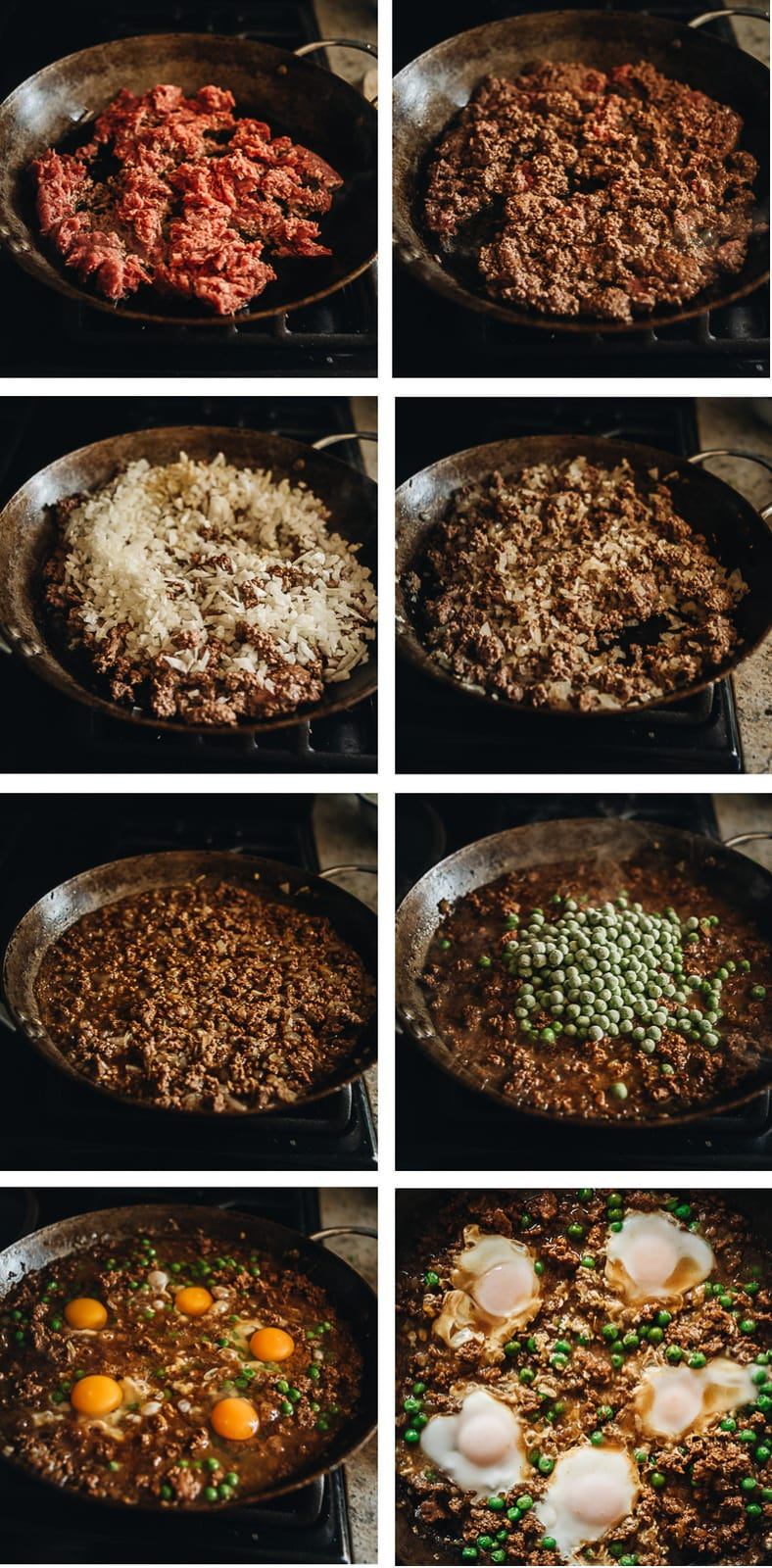 Minced beef bowl cooking step-by-step