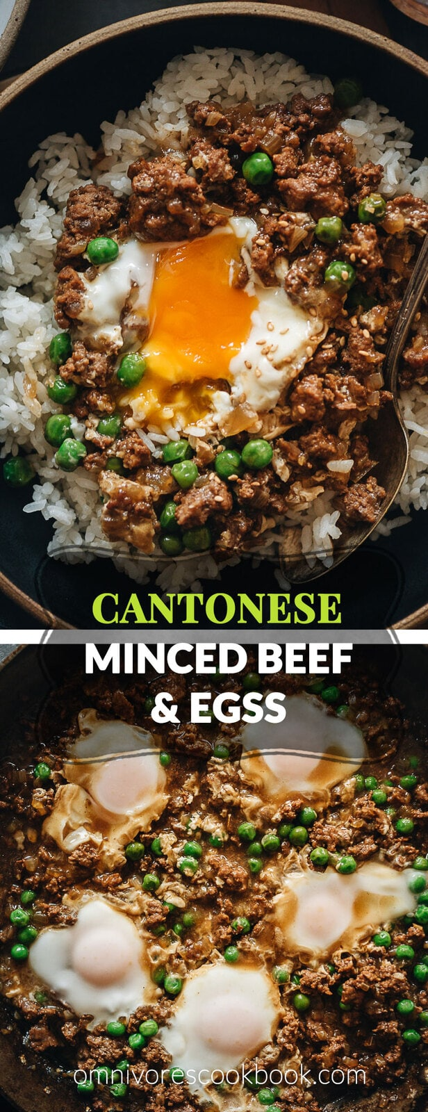 Cantonese Ground Beef Rice and Eggs | A super easy Cantonese minced beef bowl cooked with an oyster-sauce-based sauce, onion, green peas, and runny eggs. Top it on steamed rice or noodles to make a hearty and healthy meal. It's also perfect to make ahead and use as meal-prep. {Gluten-Free Adaptable}