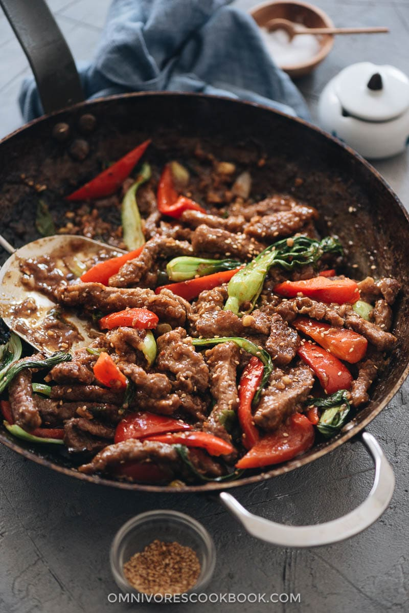 Ginger beef with bok choy and peppers