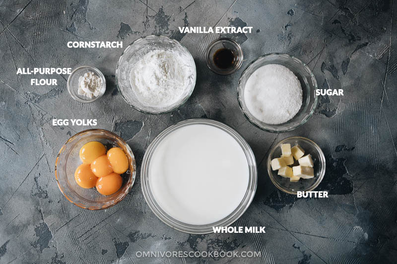 Custard filling ingredients for mooncakes