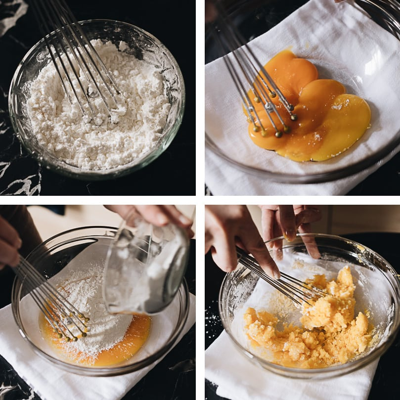 Mooncake custard filling process step-by-step - preparing eggs