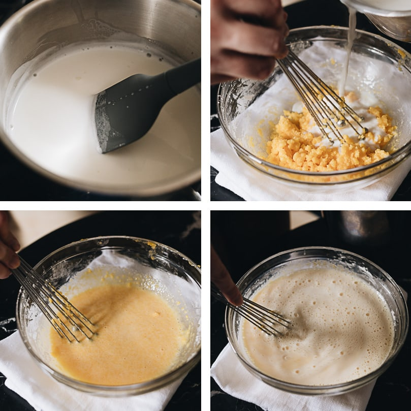 Mooncake custard filling process step-by-step - tempering the eggs
