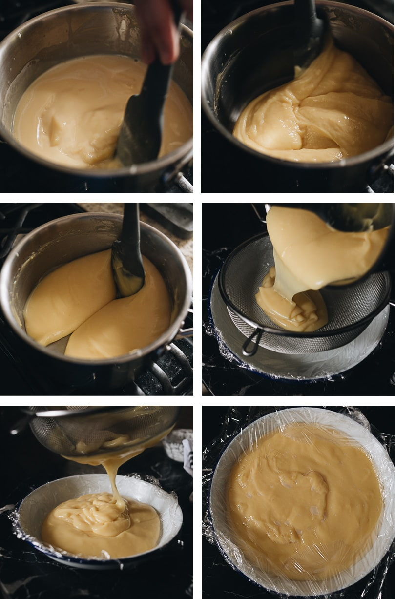 Mooncake custard filling process step-by-step - thickening custard