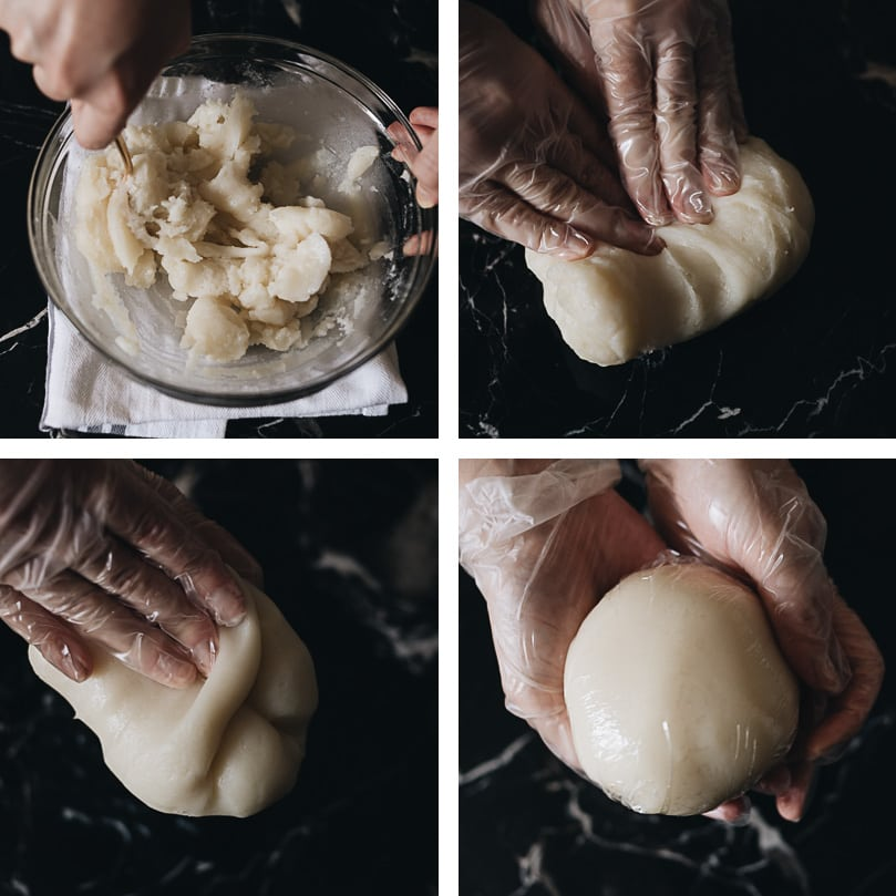 Snow skin mooncake dough making step-by-step - knead the dough