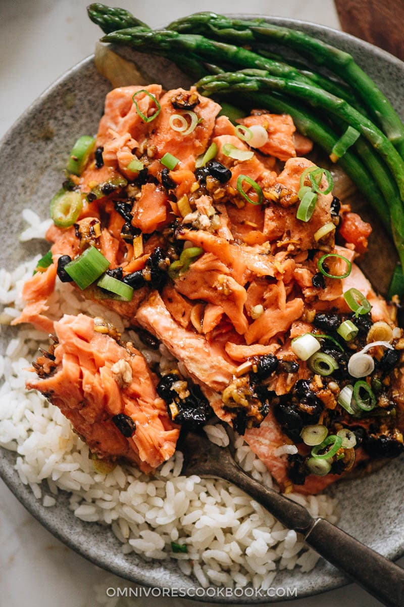 Steamed salmon in black bean sauce served with steamed rice