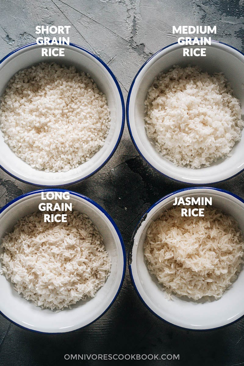 Four types of raw rice