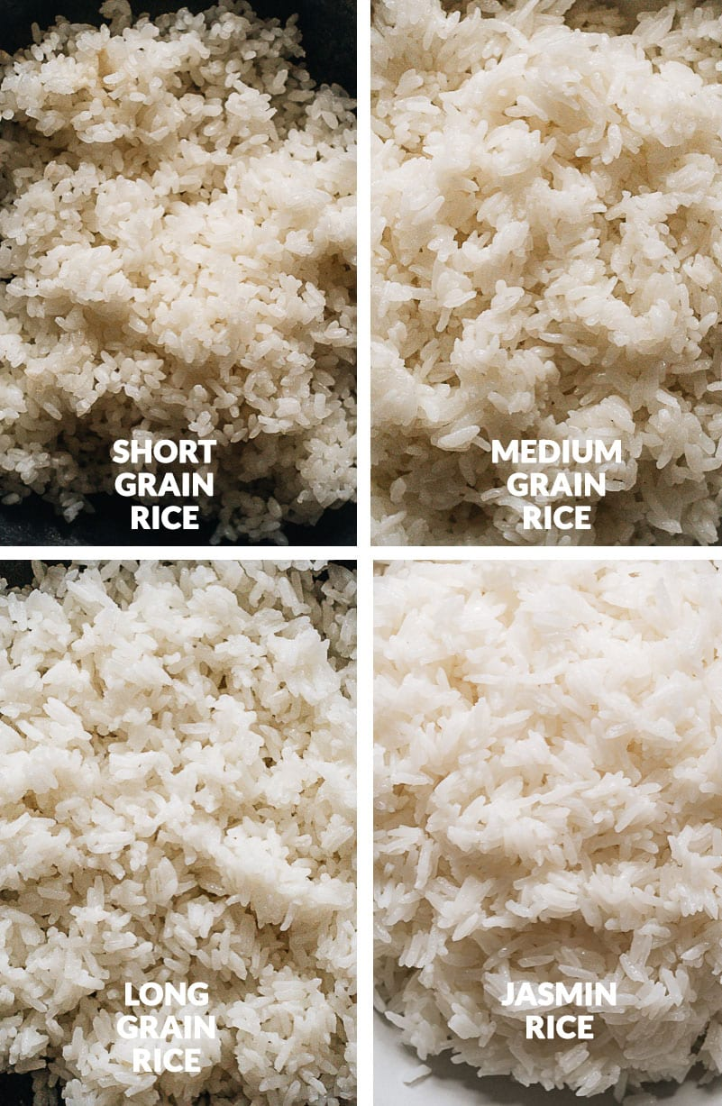 Four types of cooked rice