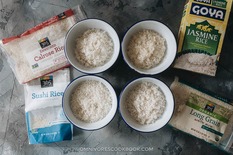 Four types of raw rice with packages