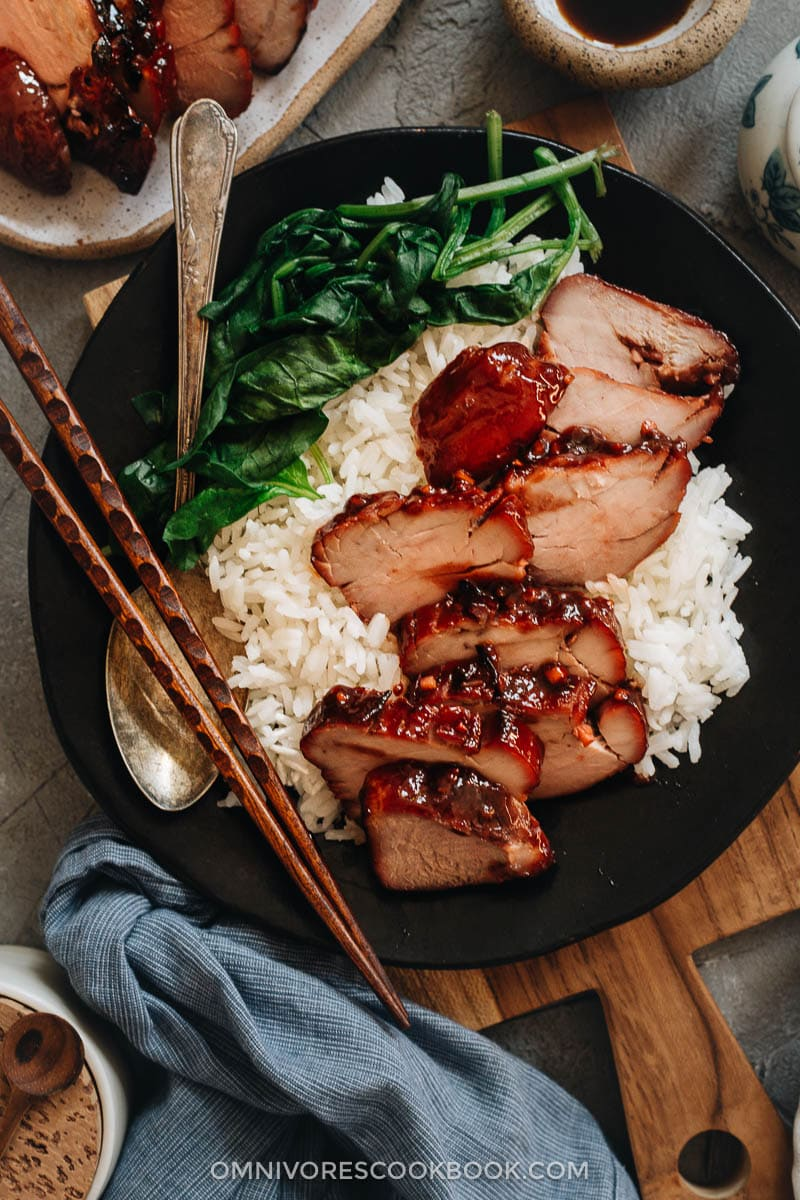 Char siu pork served on steamed rice