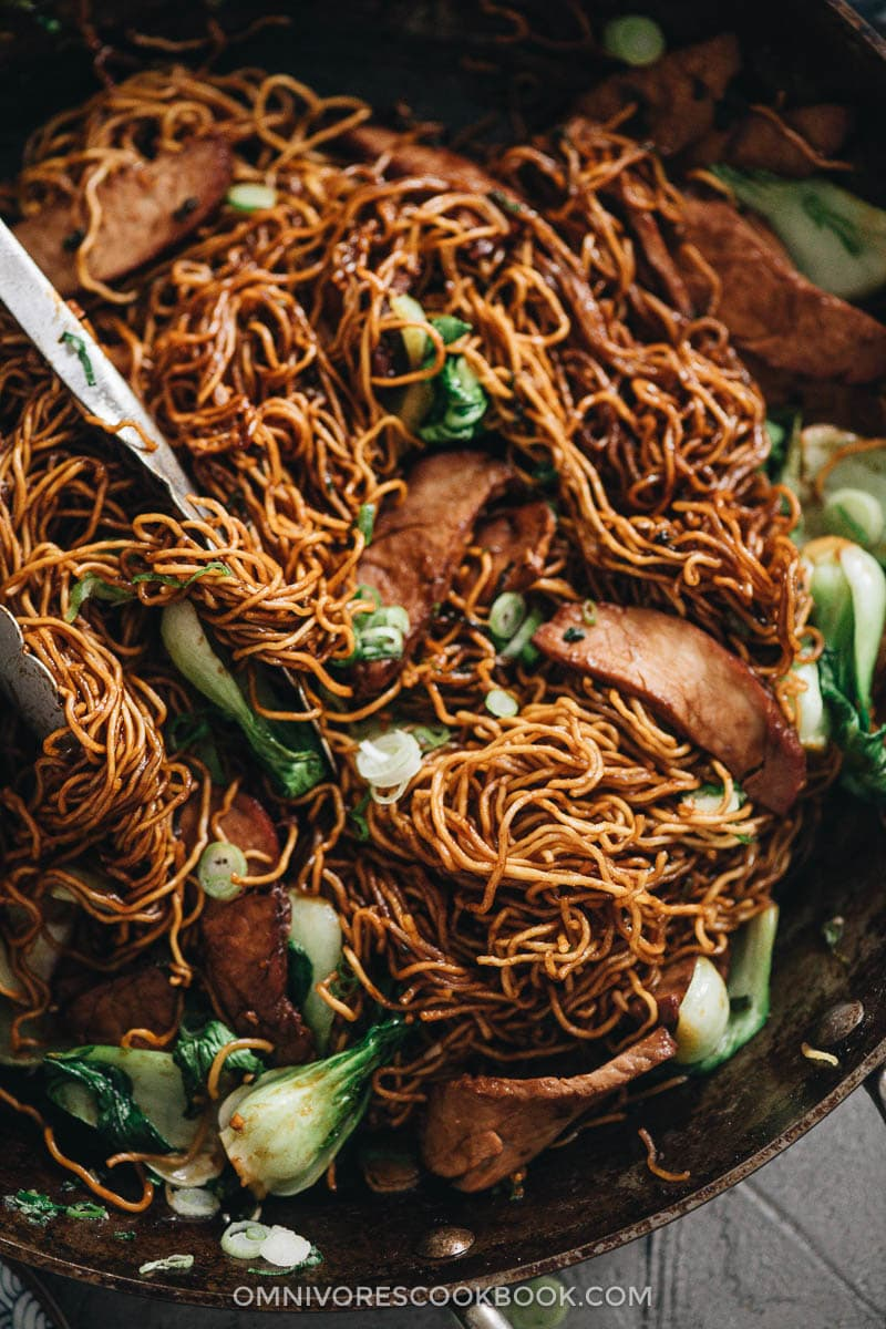 Char siu chow mein close up