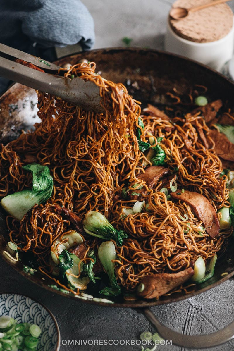 Chinese BBQ pork fried noodles