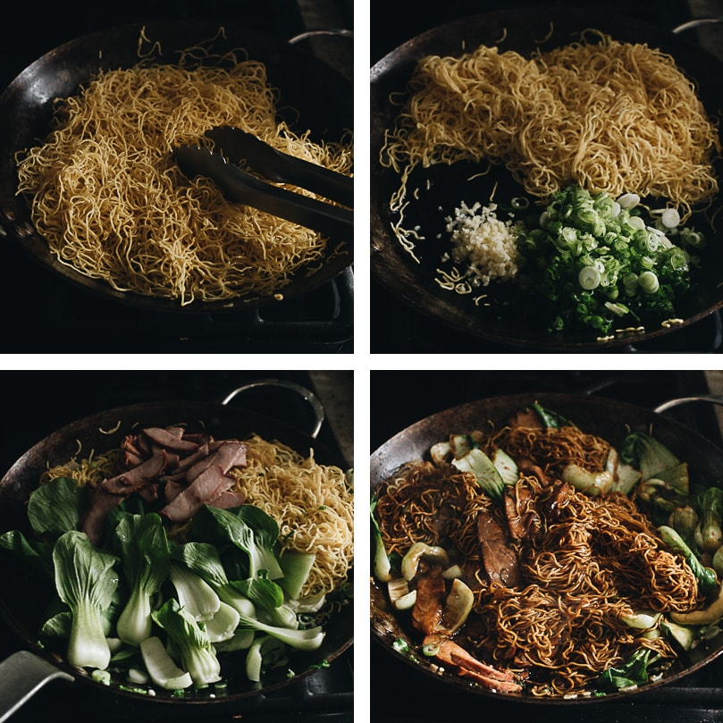 Char siu chow mein cooking process